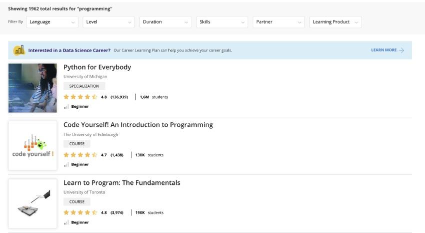 Screenshot van Coursera